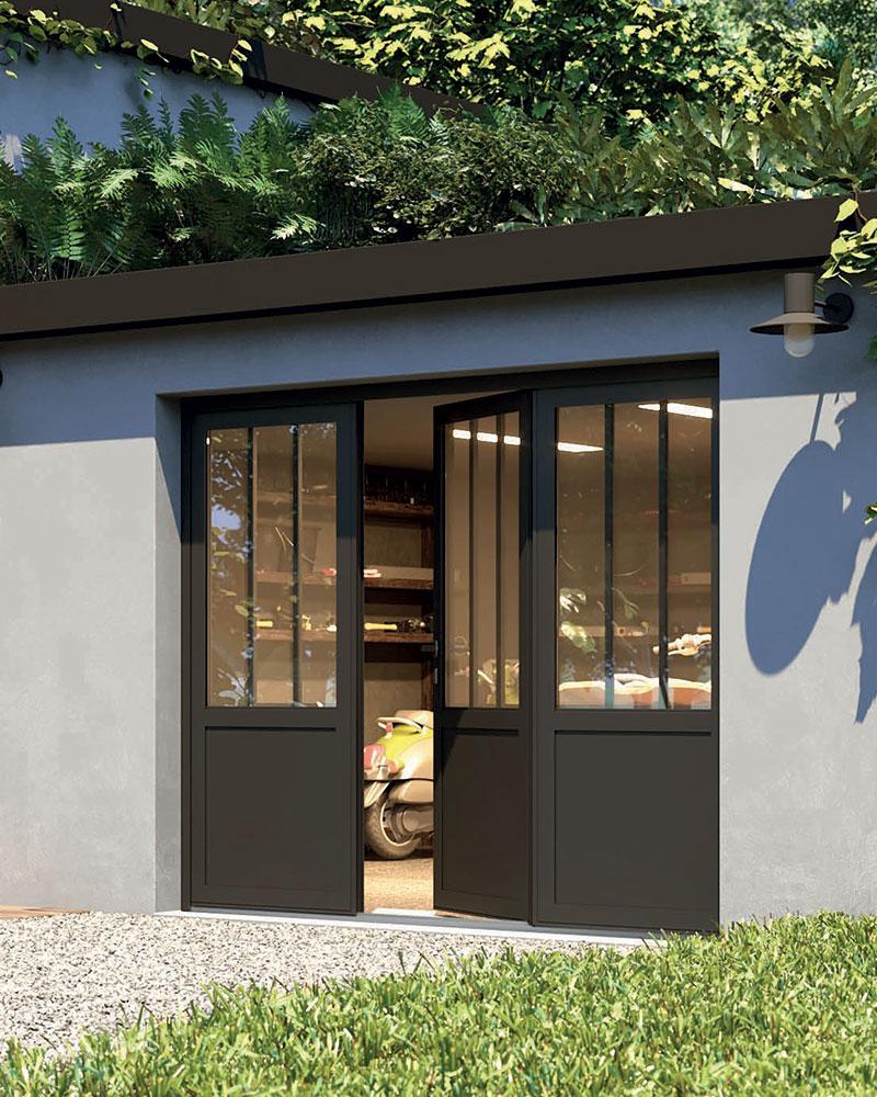 Porte de garage aluminium à vantaux Gypass